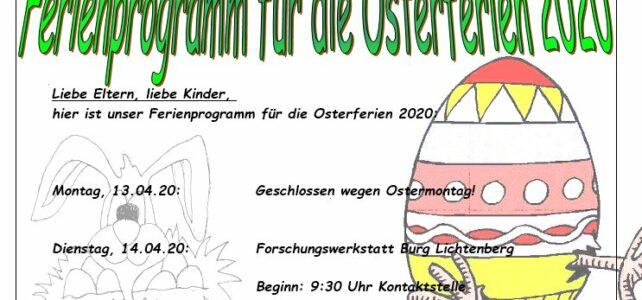 Ferienprogramm Ostern 2020 FÄLLT AUS